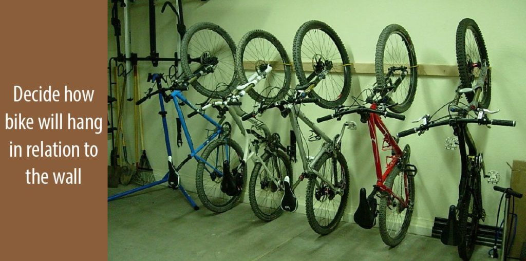 Decide how the bike will dangle in relative to the wall