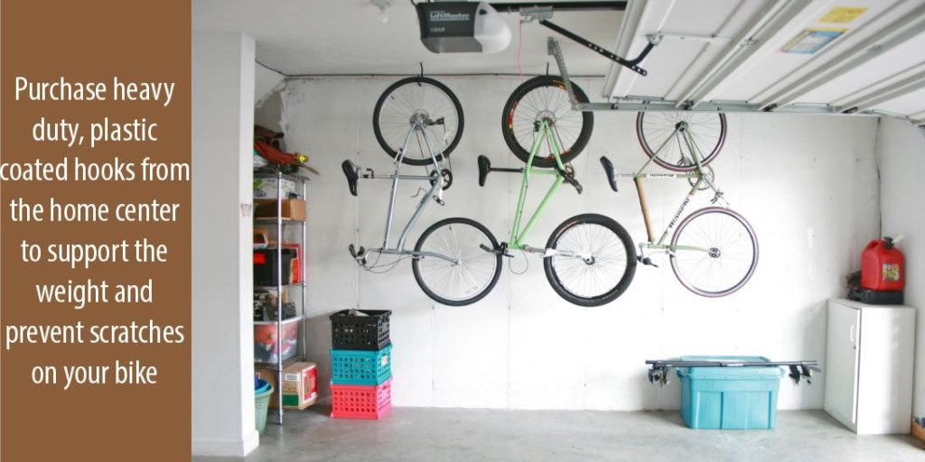The way to hang the bike inside your garage