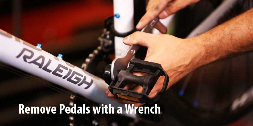 How to remove bike pedals with a wrench